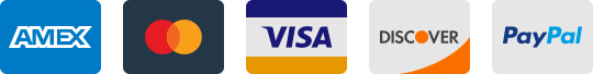 We accept American Express, Mastercard, Visa, Discover and PayPal